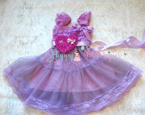 Lilac Plum Heart Chiffon Lace Dress - Happy BOWtique - children's clothing, Baby Girl clothing