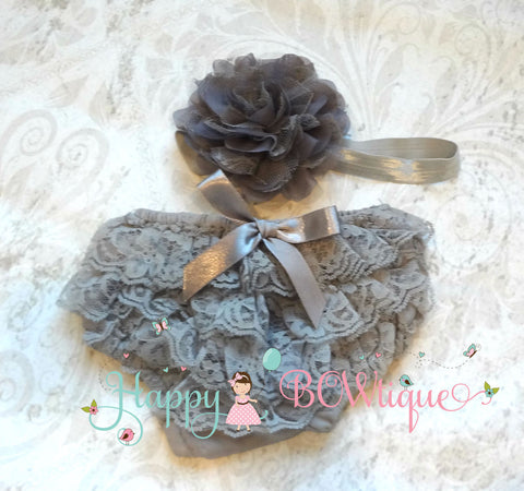 Silver Grey Baby Bloomer - Happy BOWtique - children's clothing, Baby Girl clothing