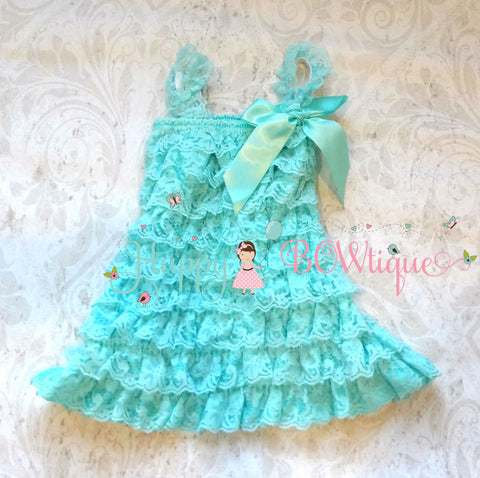 Girl Light Aqua Lace Dress ~ Aqua Baby Girl Petti Lace Dress