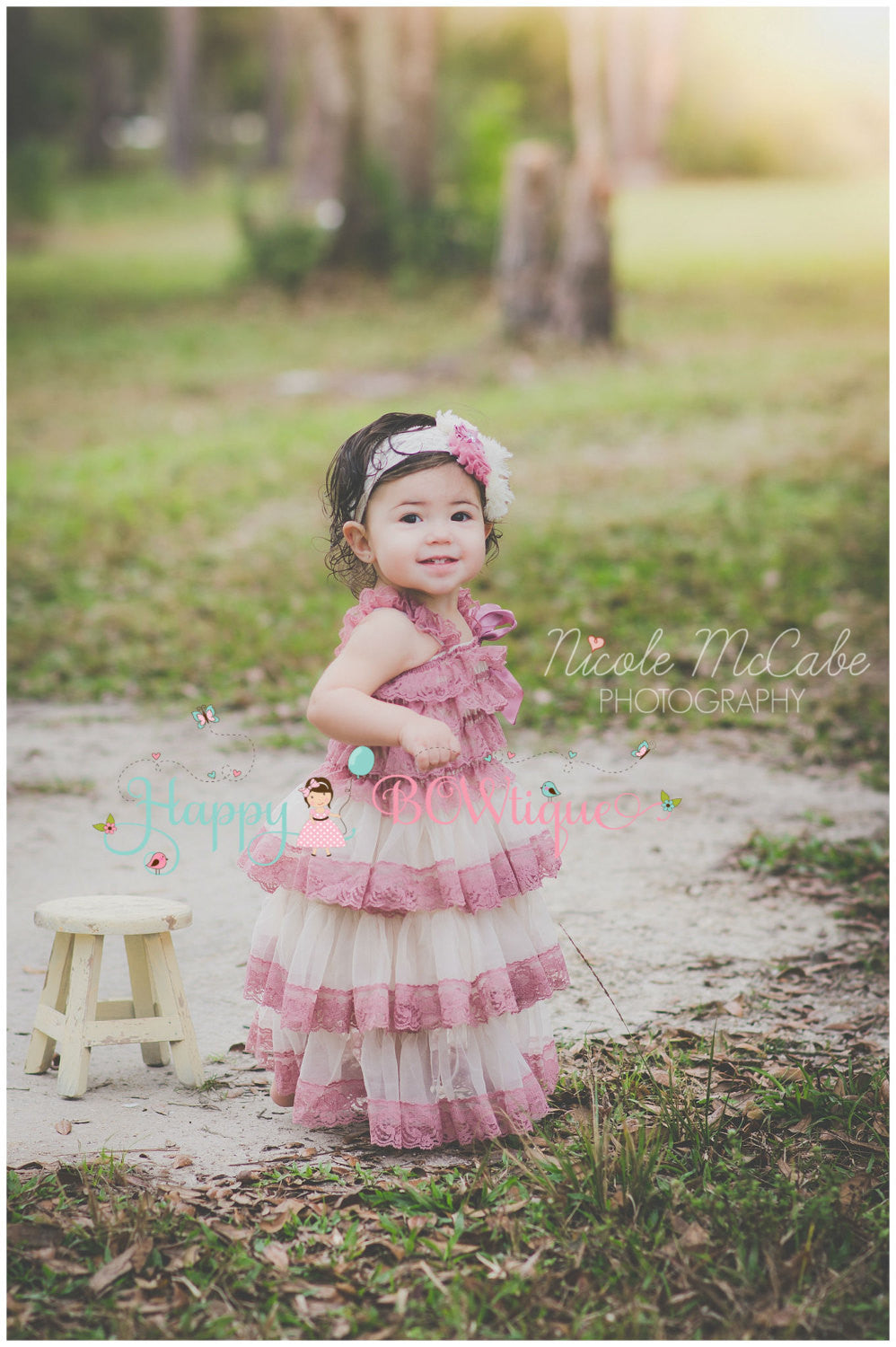 Champagne Rose Chiffon Lace Dress set - Happy BOWtique - children's clothing, Baby Girl clothing