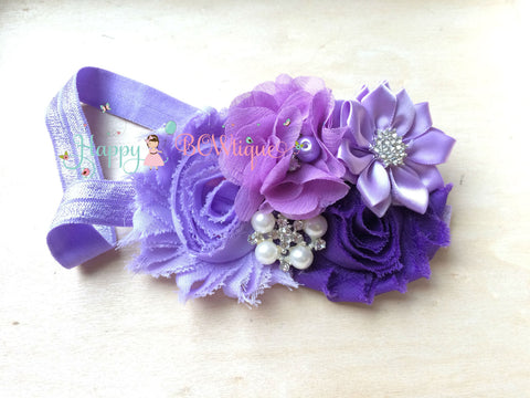 Girl's Lilac Purple Plum headband - Happy BOWtique - children's clothing, Baby Girl clothing