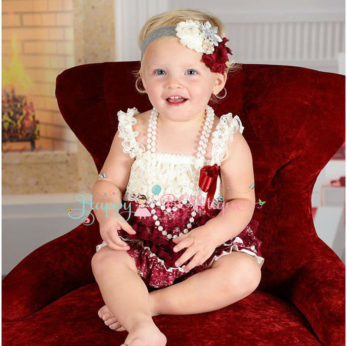 Burgundy Ivory Grey Lace Dress set - Happy BOWtique - children's clothing, Baby Girl clothing