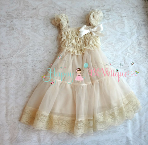 Champagne Babydoll Chiffon Lace Dress - Happy BOWtique - children's clothing, Baby Girl clothing