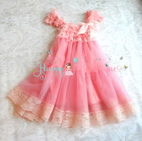 Bubblegum Pink Babydoll Chiffon Lace Dress - Happy BOWtique - children's clothing, Baby Girl clothing
