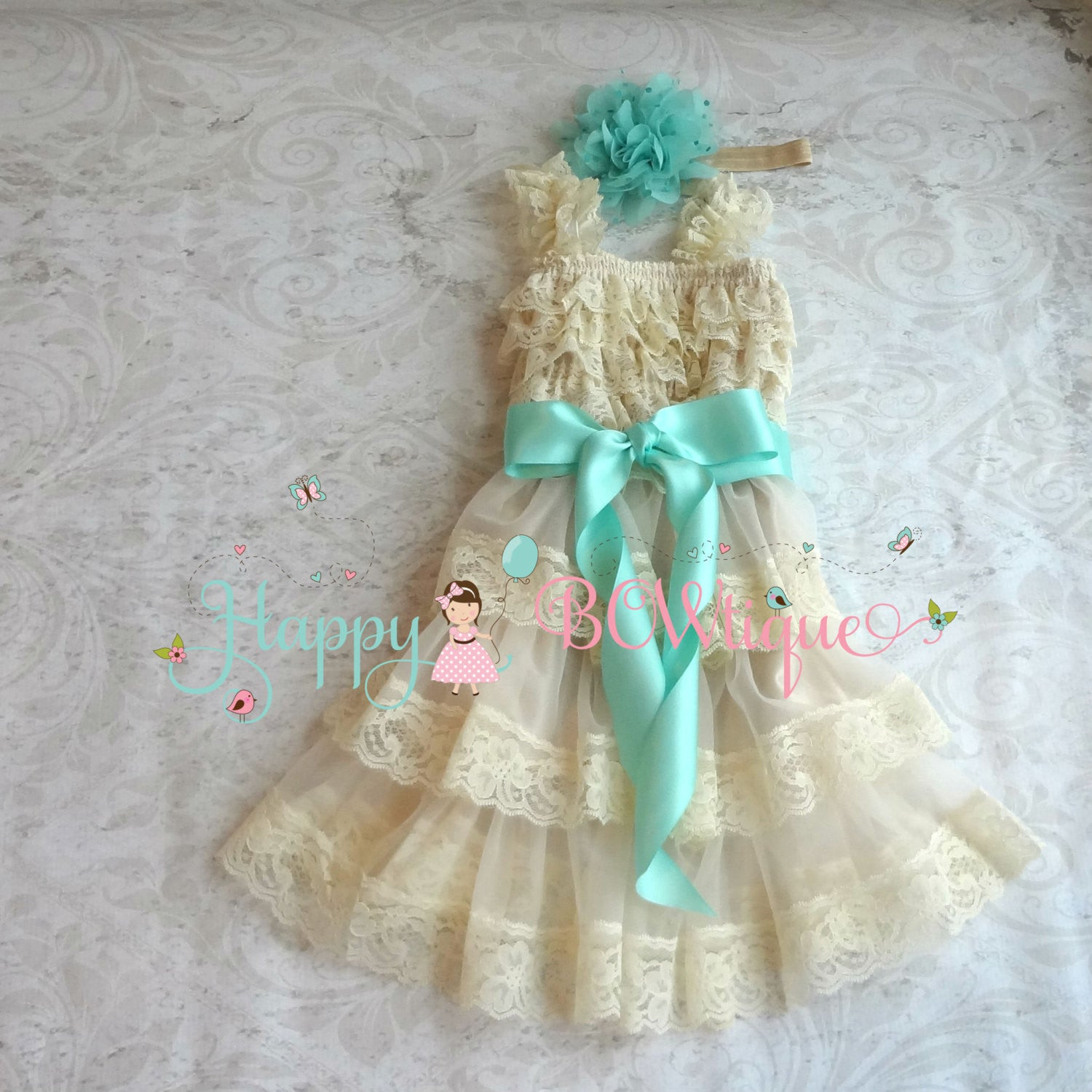 Girl's Champagne Dress / Champagne Aqua Mint Tier Dress set - Happy BOWtique - children's clothing, Baby Girl clothing