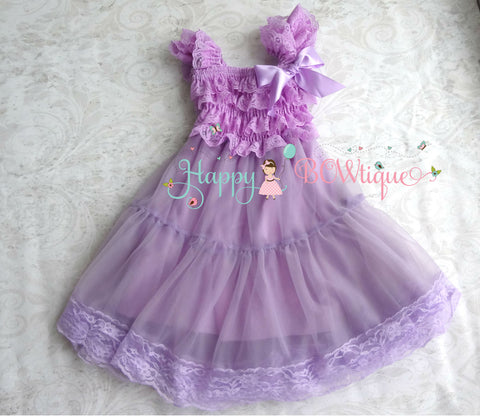 Lilac Plum Chiffon Lace Dress - Happy BOWtique - children's clothing, Baby Girl clothing
