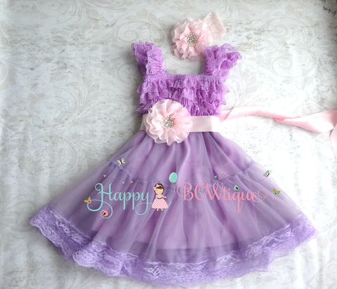 Baby Girls' dress/ Girl's Lilac Pink Chiffon Lace Dress set - Happy BOWtique - children's clothing, Baby Girl clothing