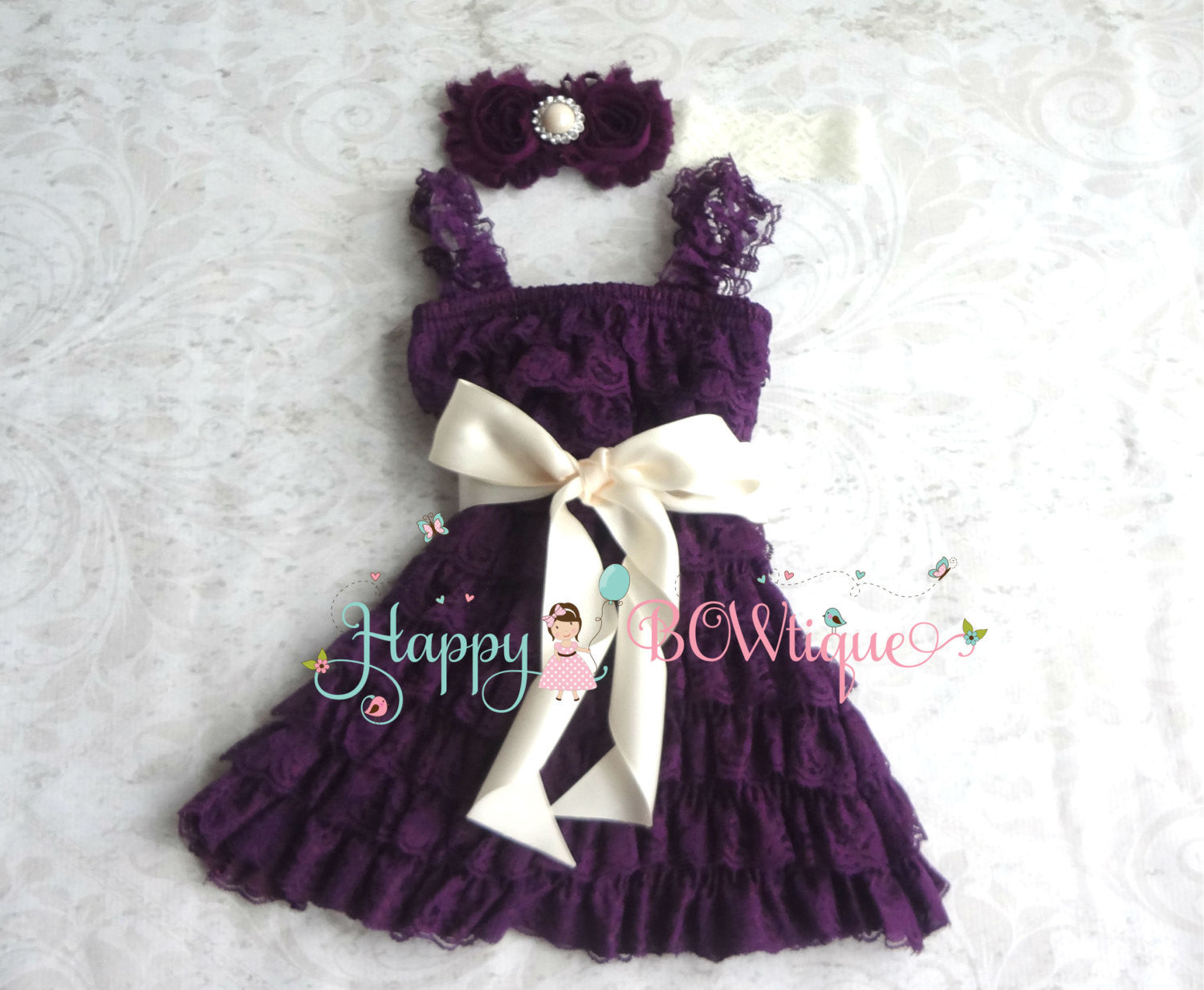 Baby Girl's Ivory Vintage Plum Lace Dress set - Happy BOWtique - children's clothing, Baby Girl clothing
