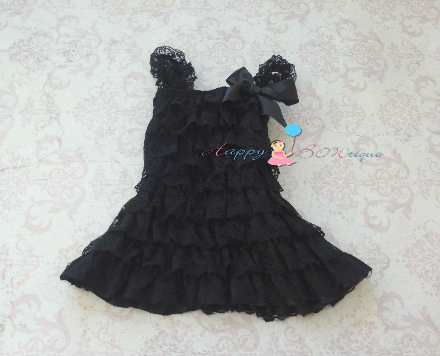 Perfect Black Lace Dress Set - Happy BOWtique - children's clothing, Baby Girl clothing