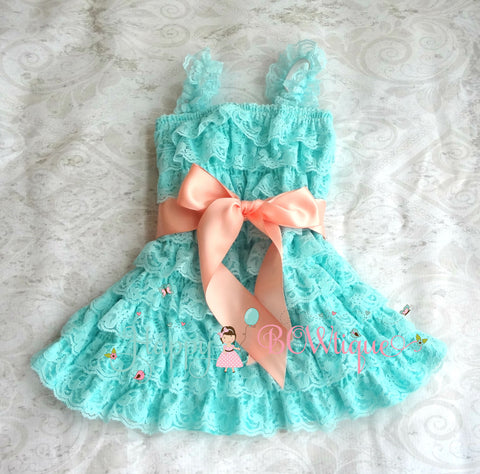 Aqua Peach Bow Lace Dress - Happy BOWtique - children's clothing, Baby Girl clothing