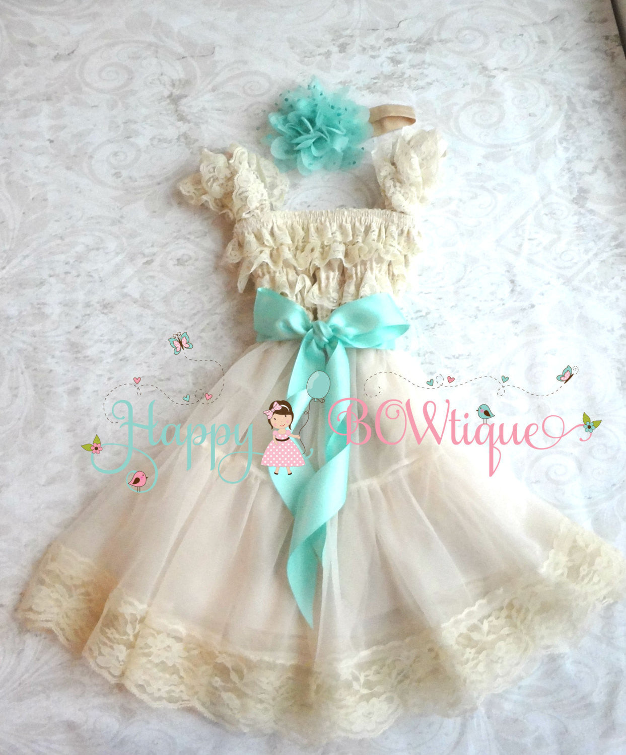 Flower Girls Dress Champagne Mint Dress Set Happy Bowtique