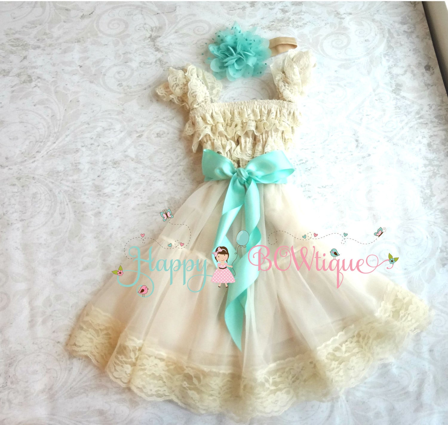 Flower girls dress| Champagne Mint dress set - Happy BOWtique - children's clothing, Baby Girl clothing