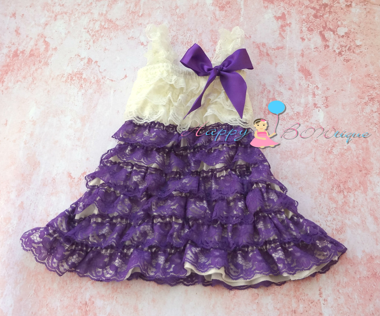 Baby Girl's Ivory Aqua Purple Lace Dress set - Happy BOWtique - children's clothing, Baby Girl clothing