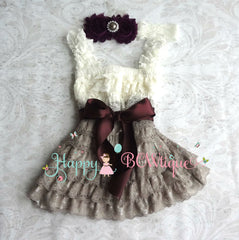 Ivory Grey Dark Plum Baby Girl's Lace Dress set - Happy BOWtique - children's clothing, Baby Girl clothing