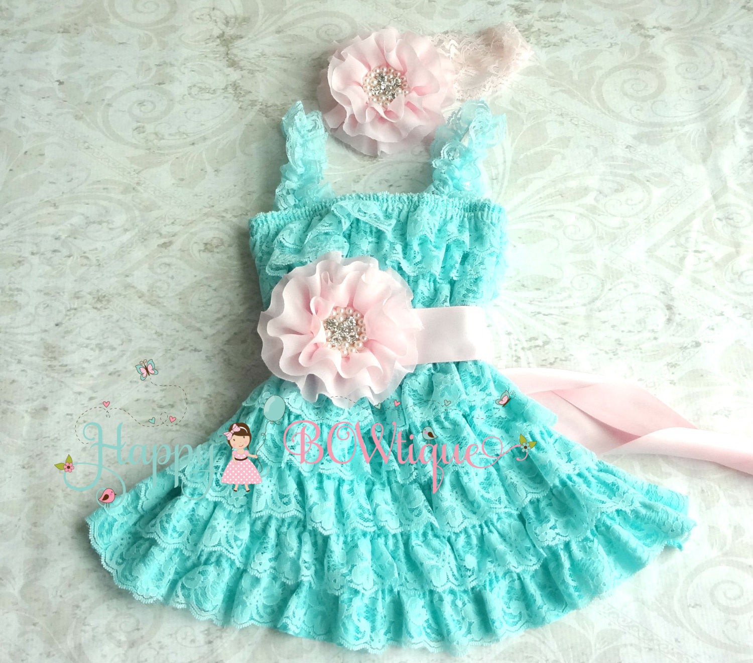 Baby Girl Aqua Pink dress set,Girls Aqua Dress,Girls's 1st Birthday- Happy BOWtique, - children's clothing, Baby clothing,