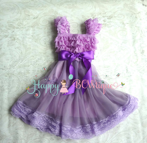 Lilac Purple Bow Chiffon Lace Dress - Happy BOWtique - children's clothing, Baby Girl clothing