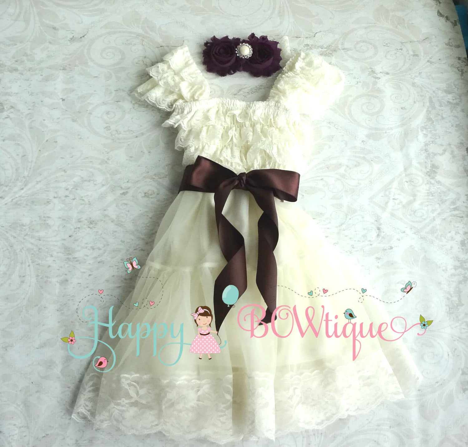 Ivory Plum Girl's Dress / Dark Ivory Plum Chiffon Lace Dress set - Happy BOWtique - children's clothing, Baby Girl clothing