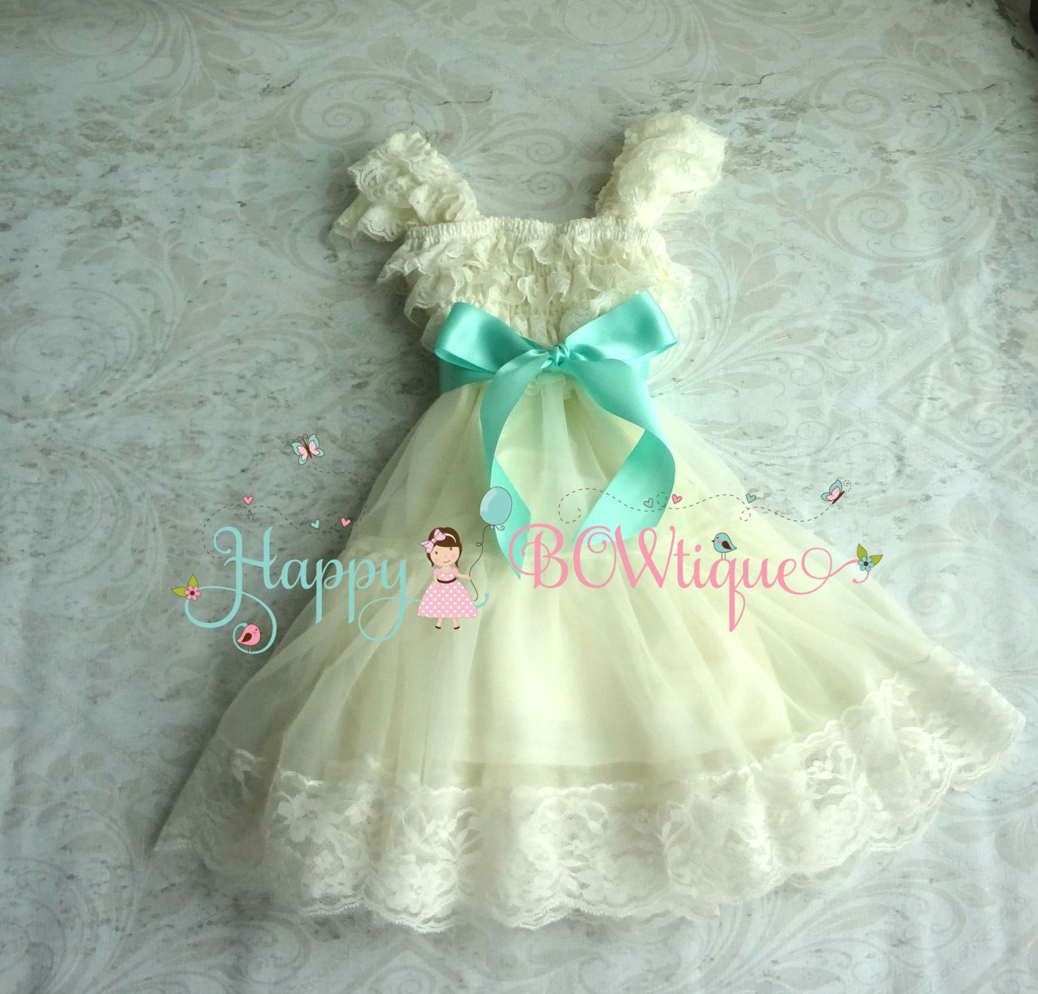 Flower girls dress/ Ivory Aqua Mint Chiffon Lace Dress set - Happy BOWtique - children's clothing, Baby Girl clothing