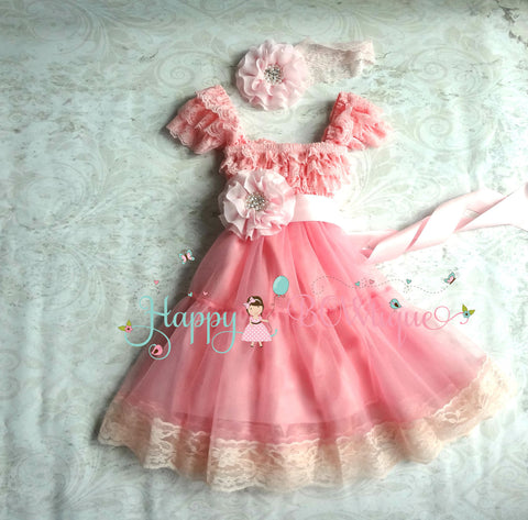 Girl's Bubblegum Pink Chiffon Lace Dress set - Happy BOWtique - children's clothing, Baby Girl clothing