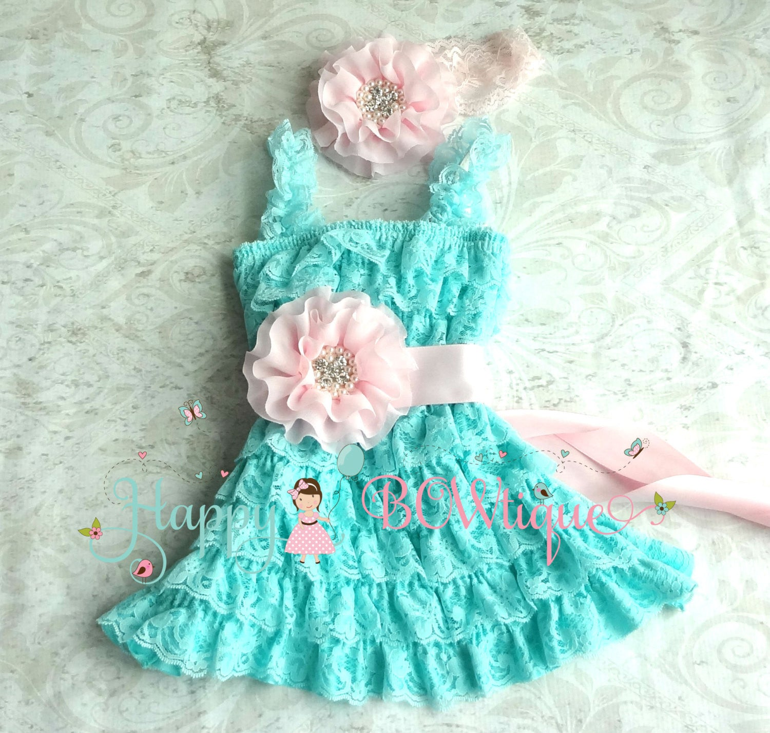 Girl Aqua Baby Pink Lace Dress Set ~ Baby Girl Aqua Dress - Happy BOWtique - children's clothing, Baby Girl clothing