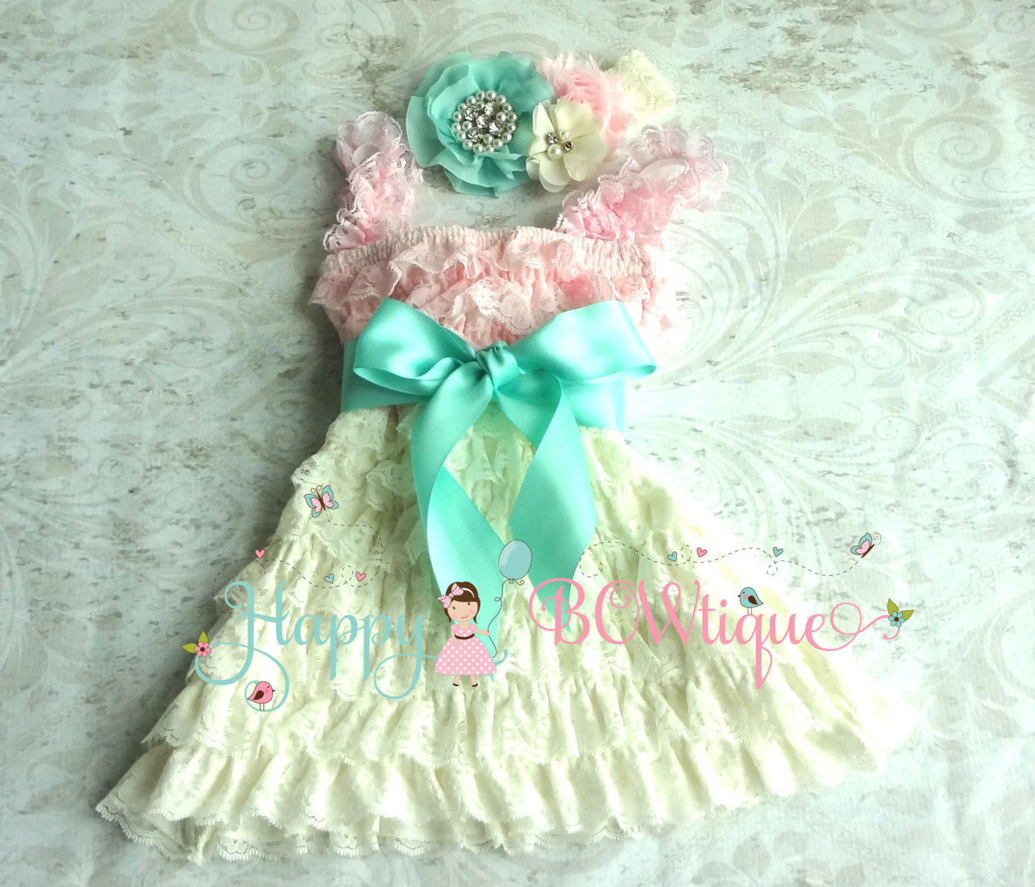 Girl's Petti Lace Dress Set/ Ivory Aqua Mint Pink Baby Girl's Dress set - Happy BOWtique - children's clothing, Baby Girl clothing