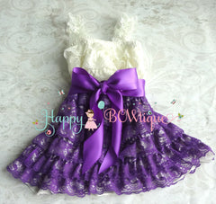 Girl Purple Ivory Aqua Bow Lace Dress ~ Baby Girl Purple Lace Dress - Happy BOWtique - children's clothing, Baby Girl clothing