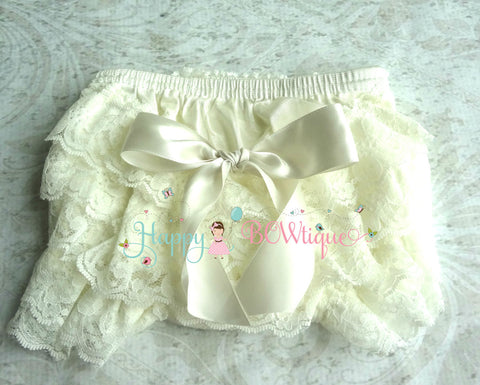Ivory Baby Bloomer - Happy BOWtique - children's clothing, Baby Girl clothing