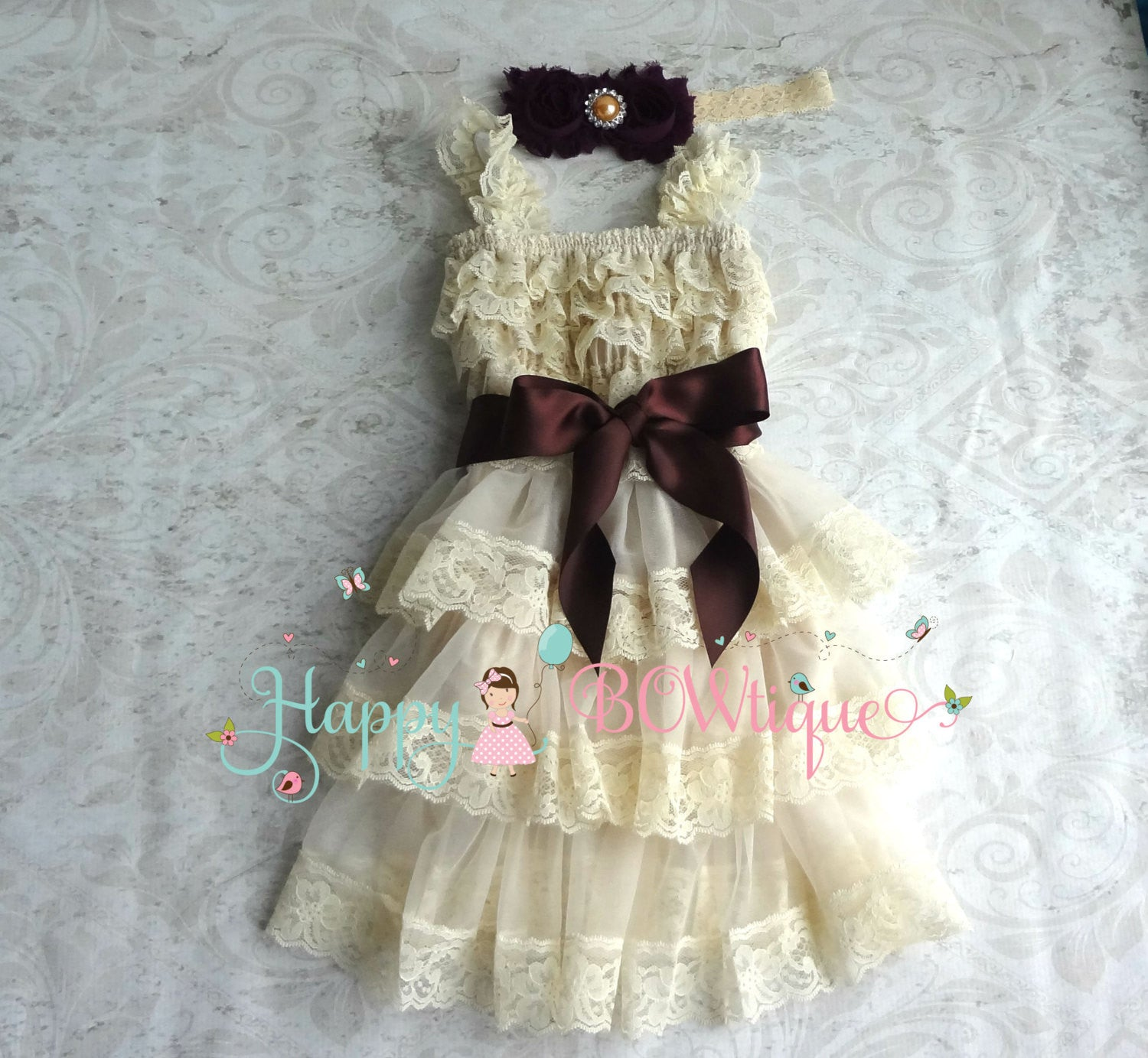 814d181b8a57 Rustic Flower girl dress / Champagne PlumTier Dress set \/ Happy BOWtique  \/ Chiffon dress set