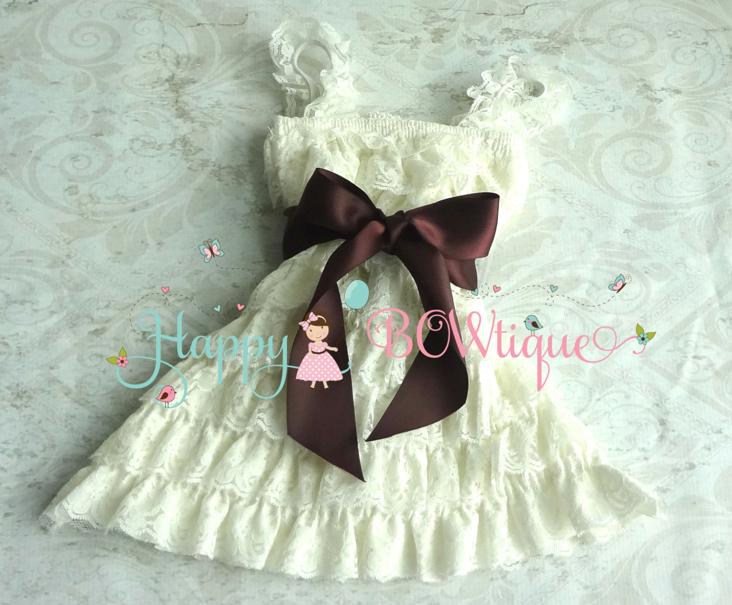 Dark Ivory Plum Bow Lace Dress - Happy BOWtique - children's clothing, Baby Girl clothing