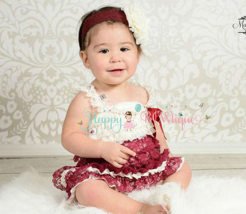 Burgundy Ivory Grey Petti Lace Dress set - Happy BOWtique - children's clothing, Baby Girl clothing