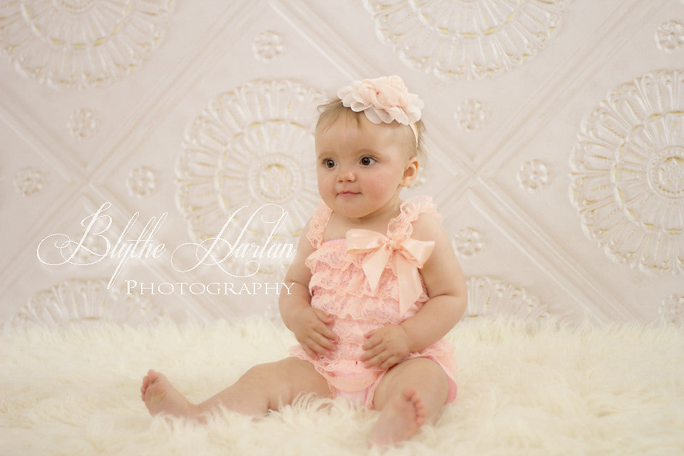 Baby Girl Blush Peach Lace Romper / Baby Peach Petti Lace Romper - Happy BOWtique - children's clothing, Baby Girl clothing
