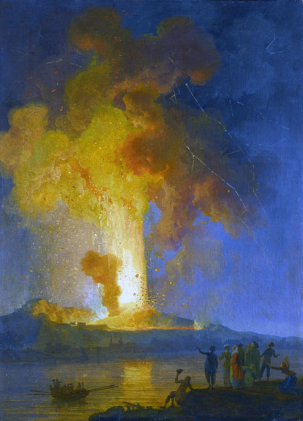 Volaire VESUVIUS ERUPTING AT NIGHT WITH SPECTATORS IN THE FOREGROUND
