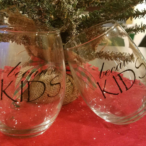SALE! (Set Of 4) Because Kids Stemless Wine Glass