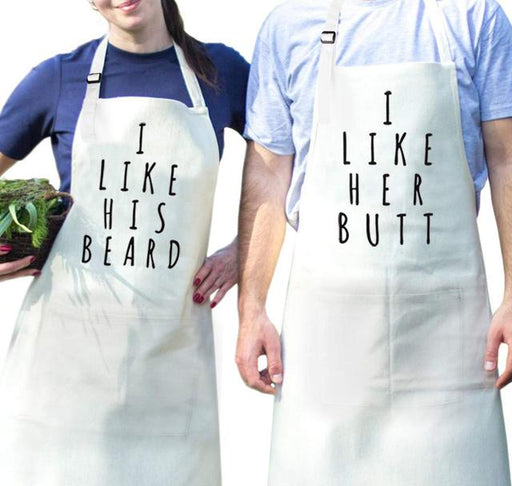 Aprons - Couples Cooking Apron Set => Love His Beard / I Love Her Butt