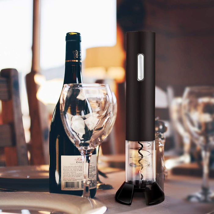 Wine Lovers Gift Set -  Battery Powered Wine Opener, Cutter, Vacuum Wine Stopper & Pourer