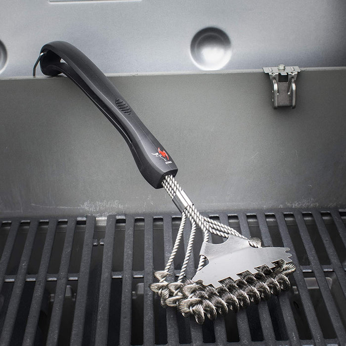 "Safe/Clean Bristle-Free Grill Brush WITH Speed/Scrape Scraper - 18"" Stainless Steel"