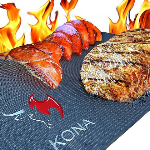 KONA Best BBQ Grill Mats - 7 Year Guarantee - Heavy Duty 600 Degree Non-Stick Grilling Mats