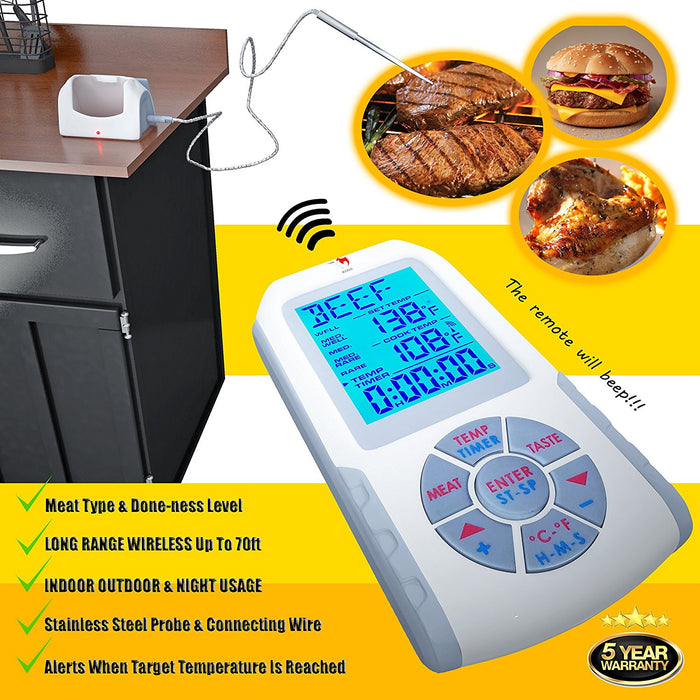 KONA Wireless Remote Kitchen Grill Meat Thermometer ~ 200ft Range