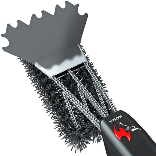Kona Safe/Clean Ceramic/Nylon Grill Brush with Scraper - Metal Bristle Free - Warm Grill Cleaning Technology