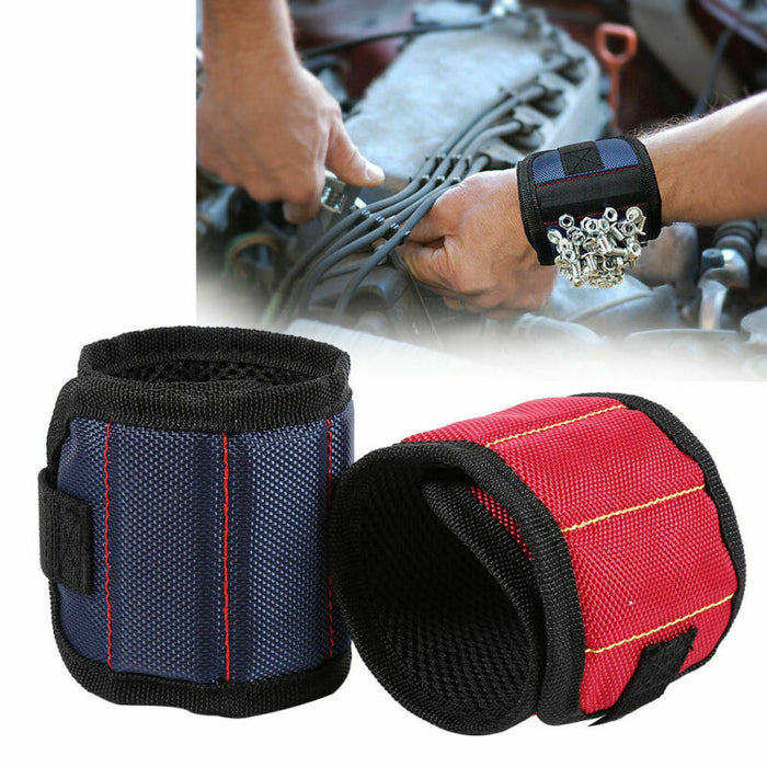 Magnetic Wristband with Strong Magnets for Holding Screws, Nails, Drill Bits - Best Unique Christmas Gift for Men, DIY Handyman