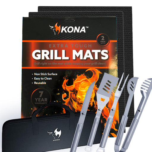 Grill Utensils & Grill Mat Gift Bundle