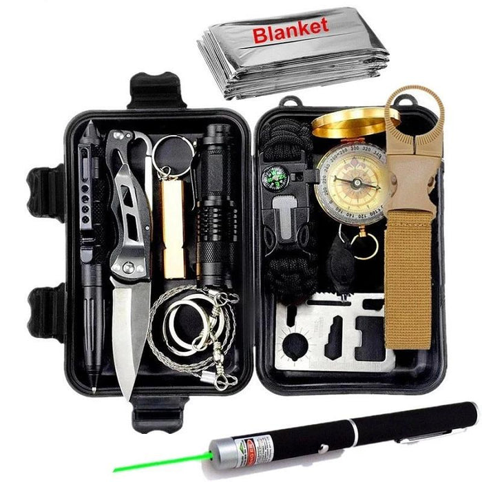 The ULTIMATE 13 in 1 Survival Kit, EDC Emergency Tools - Official Survival Kit with Paracord, Compass Flashlight and More...