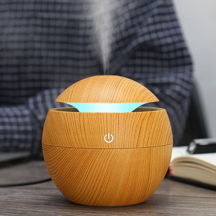 Aromatherapy Essential Oil Diffuser Wood Grain Aroma Diffusers Cool Mist Humidifier with 7 Color Changing Night Lights