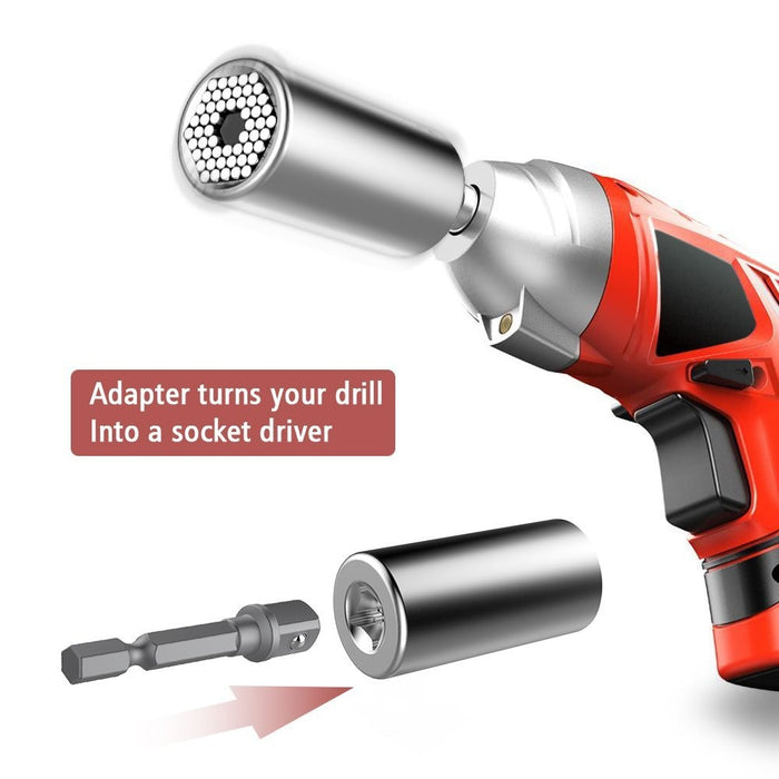 Universal Socket Grip (7-19mm) Multi-Function Ratchet Wrench Power Drill Adapter 2Pc Set - Best Unique Christmas Gift for Men