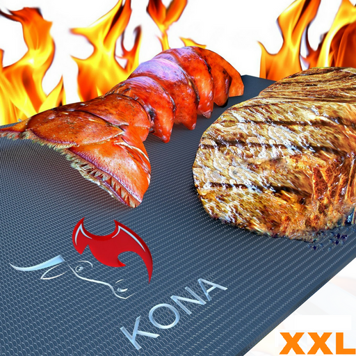 KONA XXL BBQ Grill Mats & Griddle Sheets - Set of 2 Very Large 36 inch X 25 inch Non Stick Cooking Liners, Cut to Desired Size