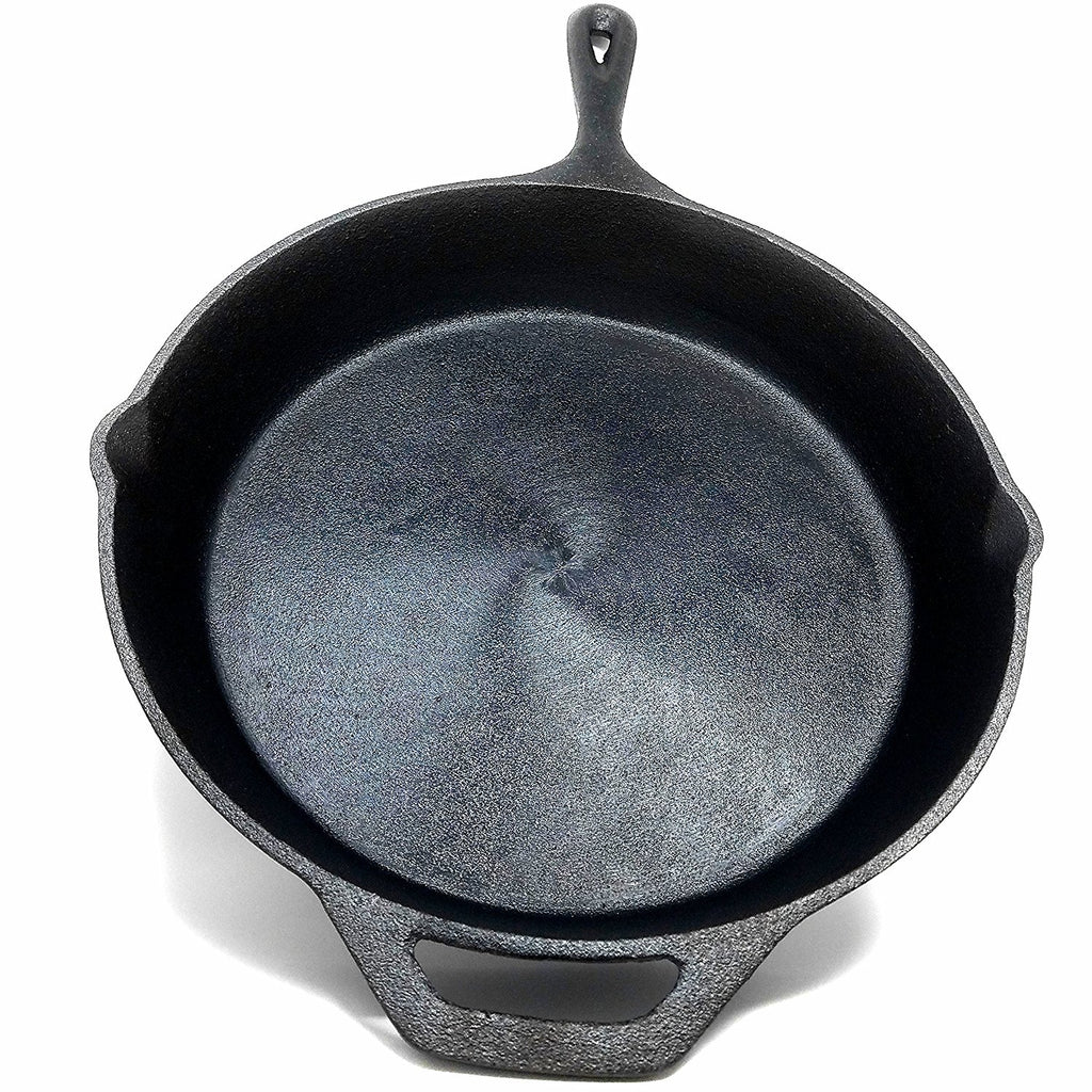 "Kona Polished Cast Iron Pan- 12.5"" Pre-Seasoned Cast Iron Skillet, Great Indoors, On The Grill & For Camping, 10 Yr Warranty"