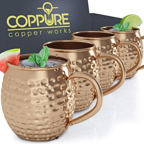 Moscow Mule Copper Mugs - Pure 100% Solid Hammered, Unlined Copper Cups For Icy Cold Cocktails