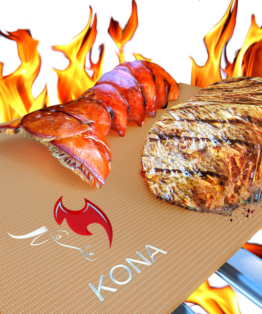 KONA Best Copper Grill Mats ~ Gold Series Non Stick Copper BBQ Grilling Mats (Set of 2)