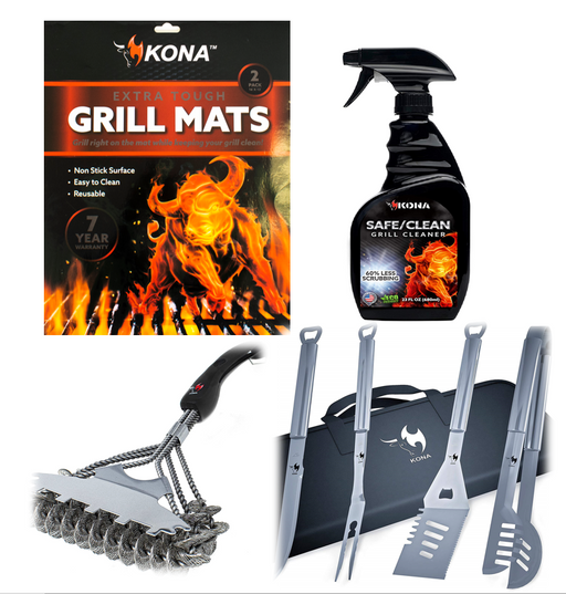 Kona New Grill Essential  Bundle - Great Grill Accessories Gift!