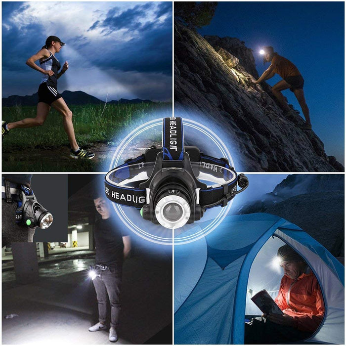 LED Headlamp 10,000 lumens - Rechargeable Batteries, Case, Chargers Included